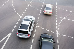 Car at automobile intersection. In city Royalty Free Stock Photo