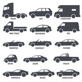 Car automobile types black vector icons isolated on white Royalty Free Stock Images
