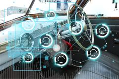 Car. Autonomous adas dashboard icon intelligent self stock photo