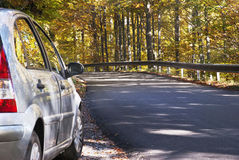 Car and autumnal road Stock Image