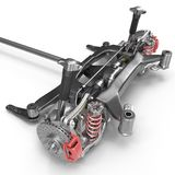 Car back suspension with disc brake on white. 3D illustration Stock Photo