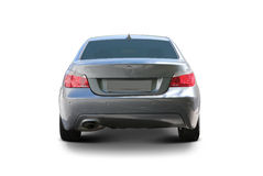 Car back view. Car BMW 5 Series sedan sport car back view - includes separate clipping paths and realistic shadows stock photography