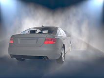 Car back view in fog Stock Photos