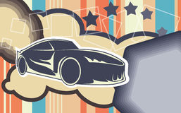 Car background. Funky background with sport car silhouette Royalty Free Stock Image