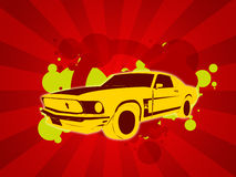 Car background. Wallpaper illustration of an old yellow car and stripes royalty free illustration