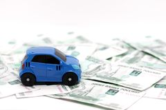 Car on the background of bills, money nomiaal 1000 rubles, car on the background of money royalty free stock images