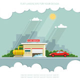 Car on the background of the city. Flat vector illustration Stock Photo