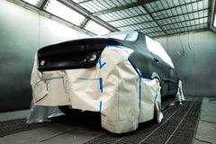 Car baking room Garage Car body work car auto car repair car paint after the accident during the spraying automotive. Car baking room Garage Car body work car royalty free stock images