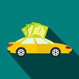 Car and banknotes icon, flat style Stock Images
