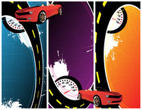 Car banner. Red cars on the abstract background Royalty Free Stock Photography