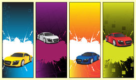 Car banners. Yellow, white, blue and red cars Royalty Free Stock Image
