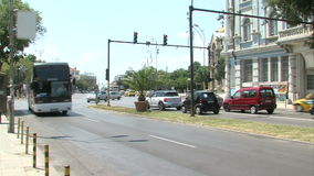 Car and bas in the old Varna, Bulgaria stock footage