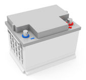 The car batery. 3d generated picture of a car battery on a white ground Stock Images