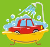 Car in bathroom. Red car is washed in bathroom with under shower Royalty Free Stock Photography