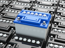 Car batteries background. Blue accumulators. Stock Photo