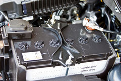 Car battery. Closeup image of a car battery Royalty Free Stock Photos