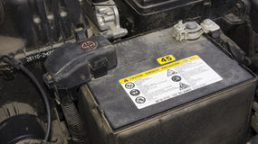Car battery. Closed image of a car battery Stock Images