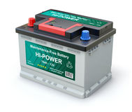 Car battery with abstract label Stock Photos