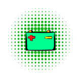 Car battery comics icon Stock Image