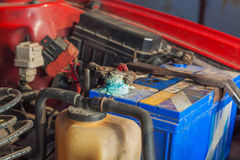 Car battery corrosion. On the terminal royalty free stock photo