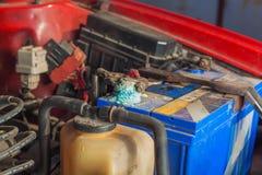 Car battery corrosion Royalty Free Stock Photo