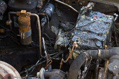 Car battery fire damage Stock Photo