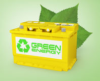 Car battery with green recycle sign. 3d Stock Image