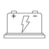 Car battery high voltage mechanic pictogram Royalty Free Stock Image