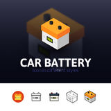 Car battery icon in different style Stock Photos