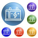 Car battery icons set vector stock illustration