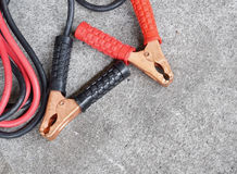 Car battery jumper cable Royalty Free Stock Images