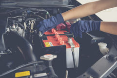 Car battery. Maintenance car battery by yoursalf royalty free stock image