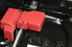 The car battery positive polarity. Car battery with red positive polarity Stock Images