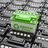 Car battery recycling. Green energy. Background from accumulator Royalty Free Stock Photos