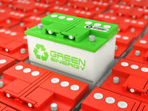Car battery recycling. Green energy. Royalty Free Stock Image