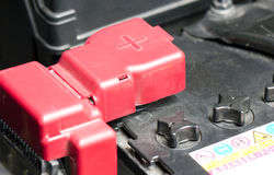 Car Battery. Car Battery With Red Positive Polarity Royalty Free Stock Photography