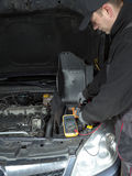Car battery voltage checking stock images