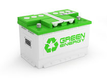Car battery on white background. Green energy concept Stock Photography