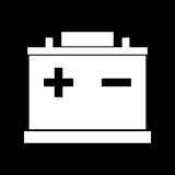 Car battery white color icon . Royalty Free Stock Photos