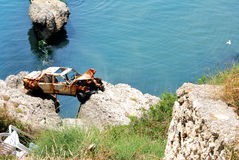 Car in the bay. Wreck a car and beateous sea Stock Images
