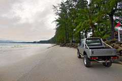 Car on the beach Royalty Free Stock Photos