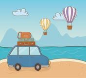 Car in the beach scene. Vector illustration design vector illustration