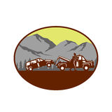 Car being towed Away Mountains Oval Woodcut Stock Photos