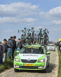 The Car of BelkinTeam on the Roads of Paris Roubaix Cycling Race. Carrefour de l'Arbre,France-April 13,2014: The official car of Belkinteam carrying spare Stock Image