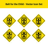 Car Belt For The Child Isolated On A White Background. Vector Icon Set. Royalty Free Stock Image