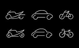 Car, bike and motorcycle - vector icons Stock Images