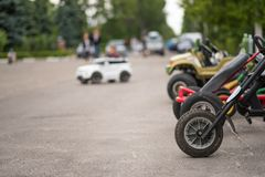Car and bike rental, children entertainment, summer. Car and bike rental, summer entertainment for children Stock Images
