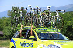 Car with bikes on the roof Stock Image