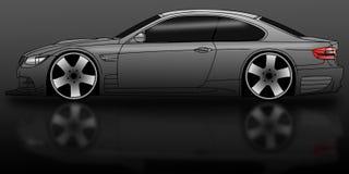 Car black. Illustration of a black sports car on a dark background Stock Photography