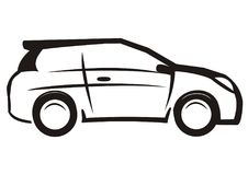 Car, black and white sketch, vector icon Royalty Free Stock Image